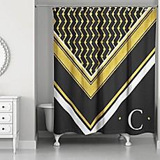 Image Of Geo Custom Shower Curtain In Black/White/Gold