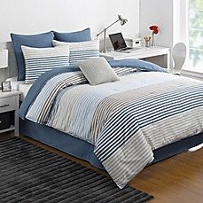image of IZOD® Chambray Stripe Reversible Comforter Set in Blue