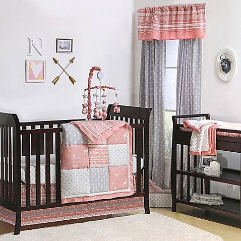 The Peanut Shell 174 Crib Bedding Collection In Coral Grey