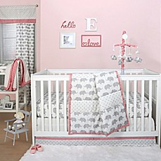 image of The Peanut Shell® Elephant Crib Bedding Collection in Grey