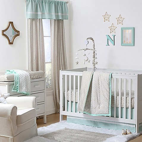 The Peanut Shell Crib Bedding Collection In Gold Mint Buybuy BABY