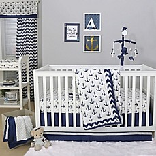 Image Of The Peanut ShellR Anchor Crib Bedding Collection In White Navy