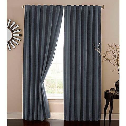 Absolute Zero 108-Inch Velvet Blackout Home Theater Curtain Panel in Stone Blue