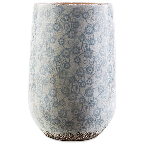 Style Statements By Surya Draven 18 Inch Ceramic Vase In Blue Bed