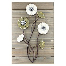 image of janele wall art plank flowers - Metal Flower Wall Decor