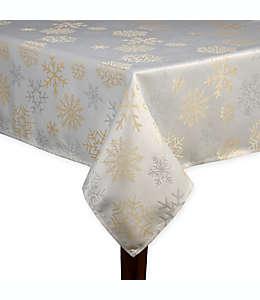 Mantel rectangular brillante con copos de nieve de 1.52 x 2.13 m