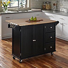 image of Home Styles Liberty Kitchen Cart with Wooden Top