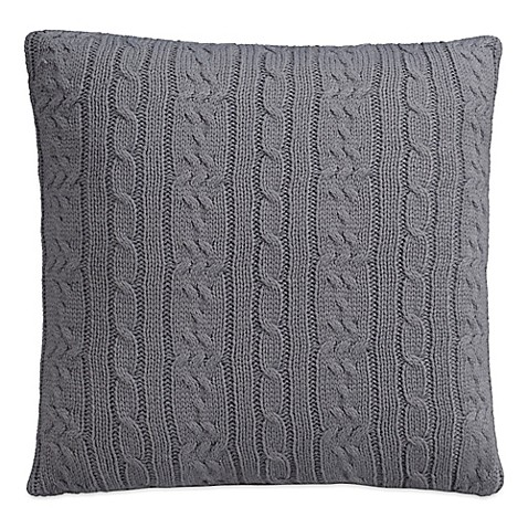 IZOD Cable Knit Quiet Shade Square Throw Pillow in Grey - Bed Bath & Beyond