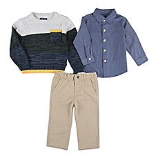 image of Nautica Kids® 3-Piece Sweater, Shirt, and Pant Set in Tan/Blue