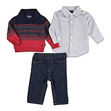 image of Nautica Kids® 3-Piece Sweater, Shirt, and Pant Set in Red/Black