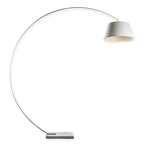 Buy george kovacsr task portables arc floor lamp in white for Arc floor lamp with white shade