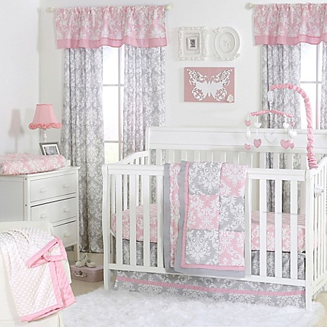 the peanut damask patchwork crib bedding collection in pinkgrey