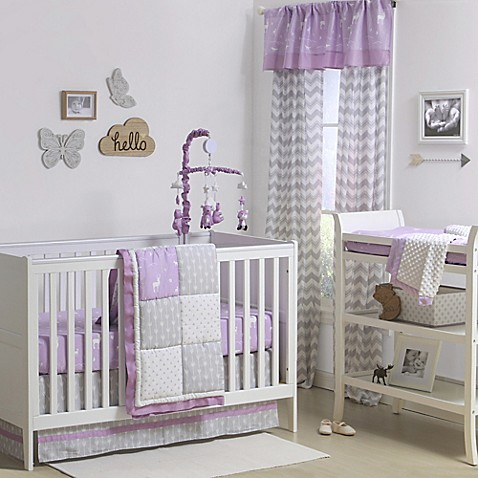The Peanut Shell Reg Woodland Patchwork Crib Bedding Collection In Purple Grey