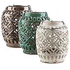 image of Style Statements by Surya Jett Ceramic Tealight Lantern