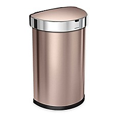 image of simplehuman® Fingerprint-Proof 45-Liter Semi-Round Sensor Trash Can