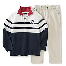 image of Tommy Hilfiger® 2-Piece Sweater and Pant Set in Navy/White