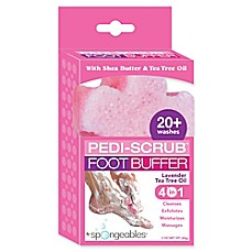 image of Spongeables™ Pedi-Scrub™ 2 oz. Foot Buffer with Lavender-Tea Tree Oil Aromatherapy