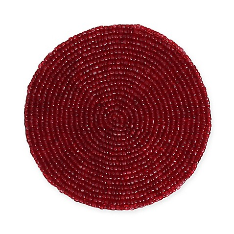 rachelle beaded coasters in red set of 4 bed bath beyond. Black Bedroom Furniture Sets. Home Design Ideas