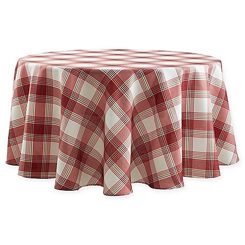 Basics Tuscan Plaid 70 Inch Round Tablecloth