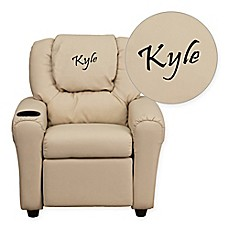 image of Flash Furniture Personalized Kids Recliner in Beige