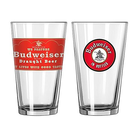 Budweiser Retro Pint Glasses
