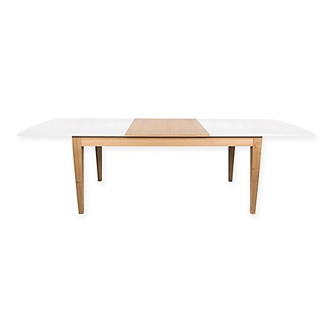 Buy tema niche dining table with extension leaf in white for Dining table with leaf insert