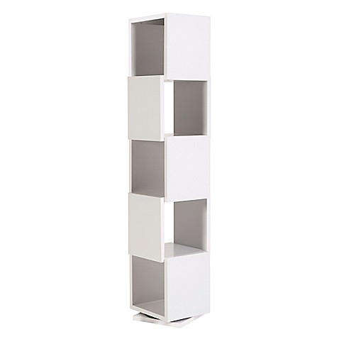 Tema Shell Revolving 5 Cube Storage Tower Bookcase In White