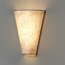 image of Moiré Fabric Shade Wall Sconce in White/Amber