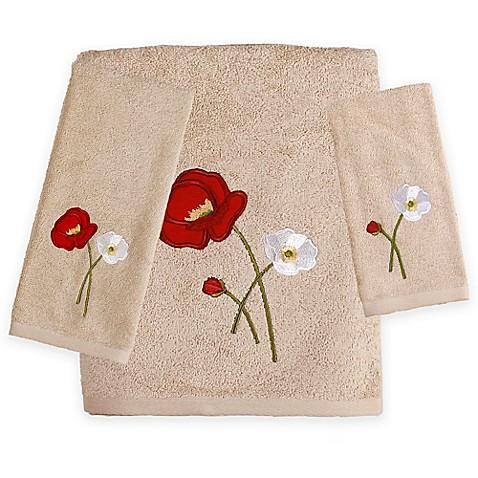 Saturday knight poppy field bath towels bed bath beyond - Bathroom items that start with l ...
