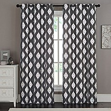 image of vcny home sorrento grommet top window curtain panel pair