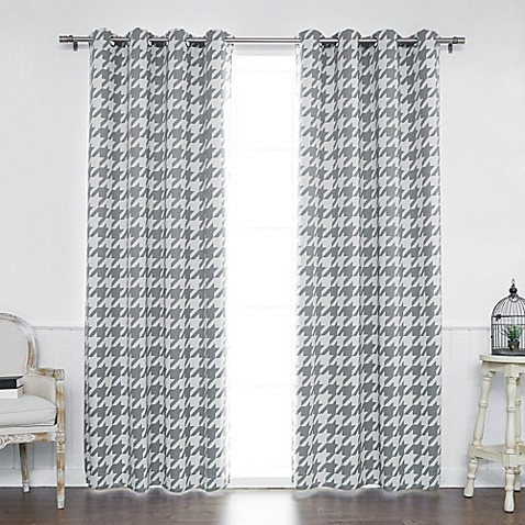 Decorinnovation Houndstooth Grommet Top Window Curtain Panel Pair And Tie Backs