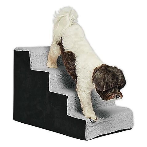 Precious Tails Sherpa Top High Density Foam Pet Steps In Black