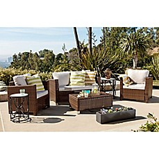 image of Abbyson Living® Hampton 4-Piece Outdoor Wicker Sofa Set in Brown