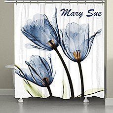 image of Laural Home® Tulip Shower Curtain in Blue/White