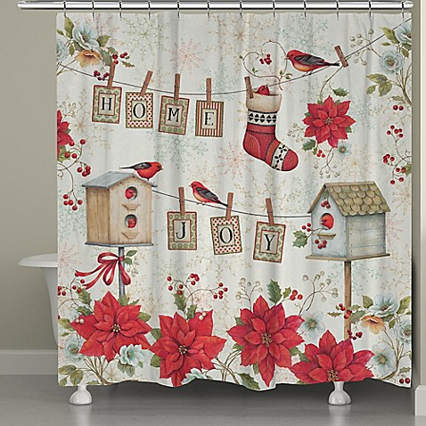 Buy Laural Home Holiday Wings Shower Curtain In Red White