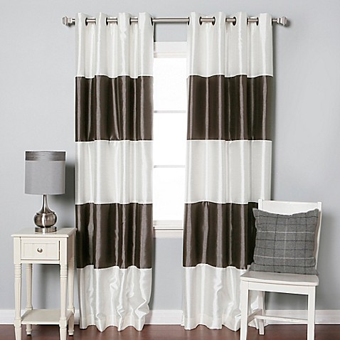Buy Decorinnovation Striped 84 Inch Room Darkening Grommet Top Window Curtain Panel Pair In Dark