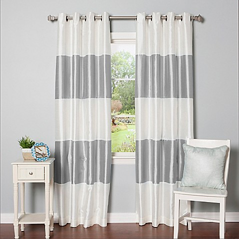 Buy Decorinnovation Striped 84 Inch Room Darkening Grommet Top Window Curtain Panel Pair In Grey
