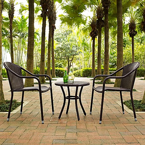 Crosley palm harbor 3 piece wicker patio bistro set bed bath beyond - Bistro sets for small spaces collection ...