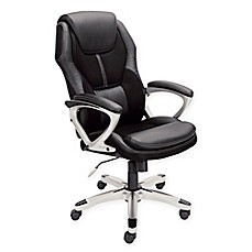 image of serta puresoft faux leather u0026 mesh executive office chair in black