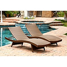 image of abbyson living palermo outdoor wicker chaise lounges set of 2