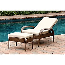 image of abbyson living palermo outdoor wicker chaise lounge with ottoman in brown