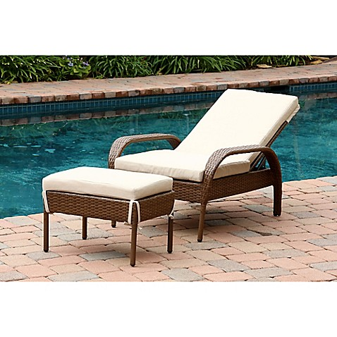 Abbyson living palermo outdoor wicker chaise lounge with for Brown chaise lounge outdoor
