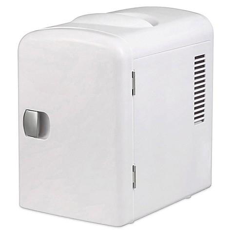 Gourmiau0026reg; Portable 6 Can Mini Fridge Cooler And Warmer In White