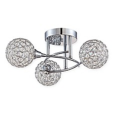 image of Quoizel© Platinum Collection 3-Light Semi-Flush Mount Shimmer Ceiling Lamp in Polished Chrome