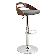 image of LumiSource Cassis Adjustable Height Faux Leather Barstool in Grey