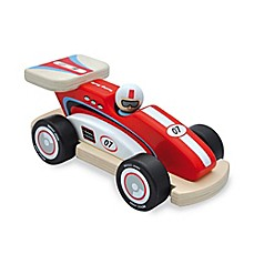image of Indigo Jamm Racing Rocky Wood Racecar and Peg Person in Red