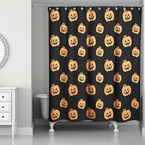 Pumpkin Patch Shower Curtain In Black Orange