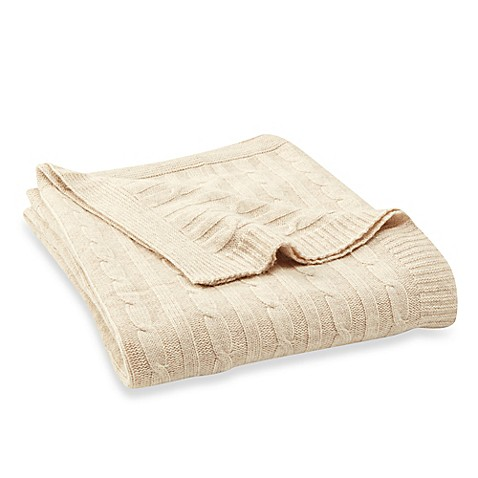 wamsutta vintage cotton cashmere cable knit throw in oatmeal bed bath beyond. Black Bedroom Furniture Sets. Home Design Ideas