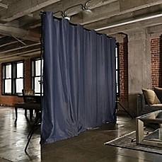 image of RoomDividersNow Freestanding Room Divider Kit with 8-Foot Tall Curtain Panel (A)