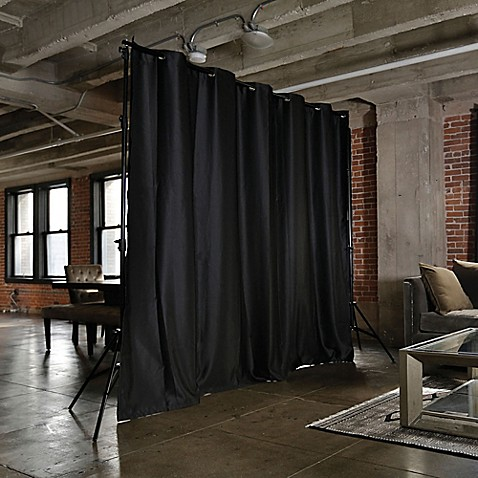 buy room dividers now medium freestanding room divider kit a with 8 foot curtain panel in black. Black Bedroom Furniture Sets. Home Design Ideas